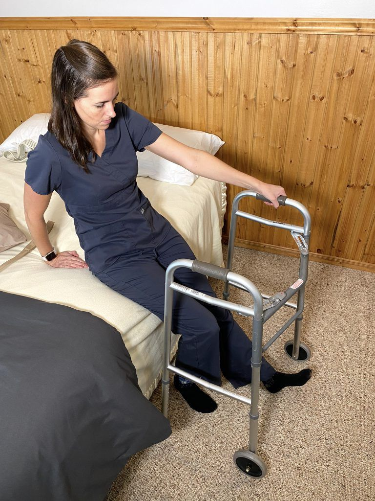 Bed Mobility After Hip Replacement - Pulling Walker Into Walker Place