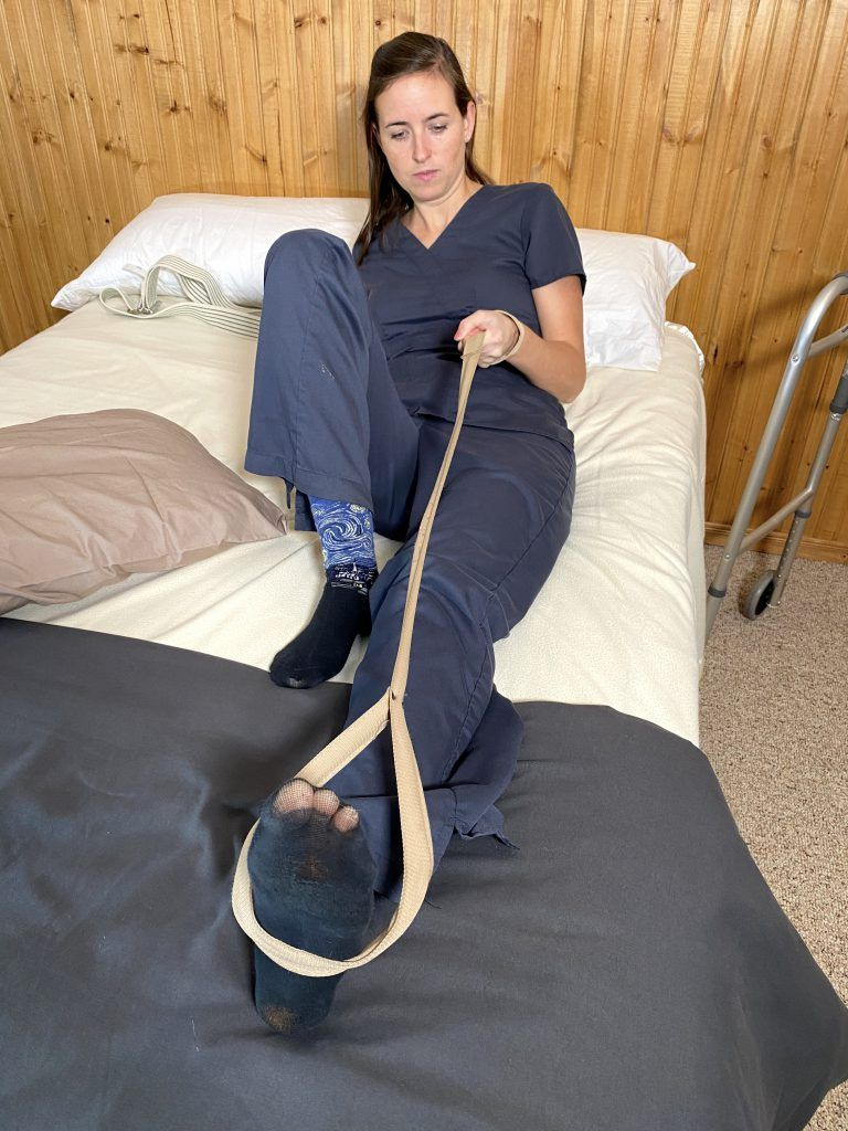 Bed Mobility After Hip Replacement - Wrap Foot with Leg Lift