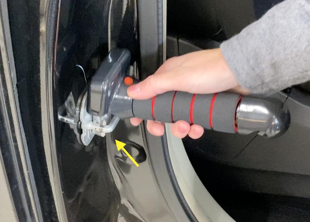 Use Car Door Assist Handle - Insert Cane into Striker Plate