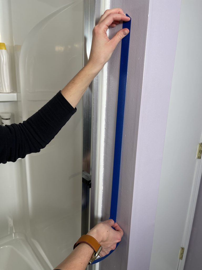 Shower Grab Bar Vertical Position Marked Outside Shower With Tape