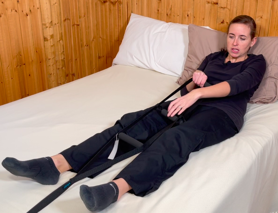 Pull into upright/seated position using bed ladder at foot of bed - bed mobility aid
