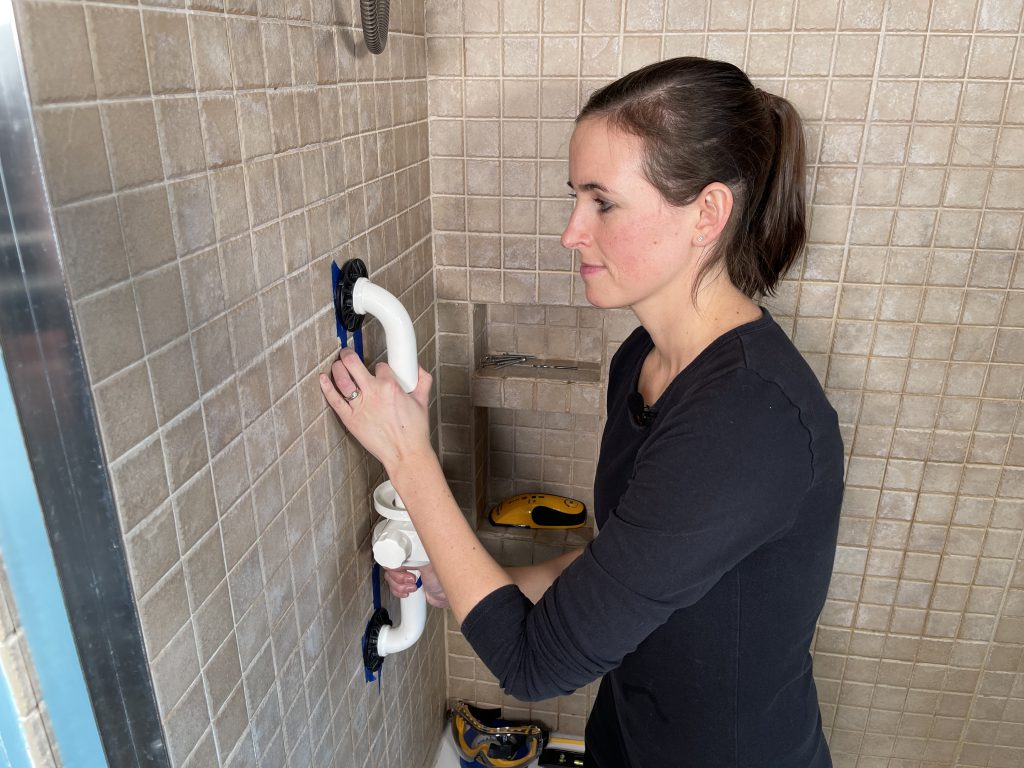 tile shower grab bar install placement